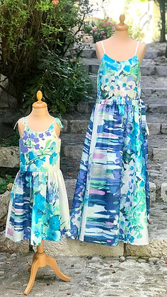 "Robe longue femme made in France ""Champ de fleurs bleues"""