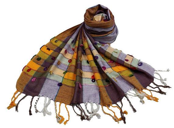 Étole Viscose Multicolor Boucles coton  N1