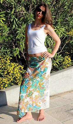 Paréo sarong - Blanc - Fleurs Bleues -12043P