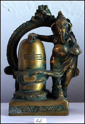 Statue Ganesh debout / Lingam-yoni Bronze N146