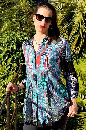 Tunique Plissée - Cachemire - Noire - 12016TP