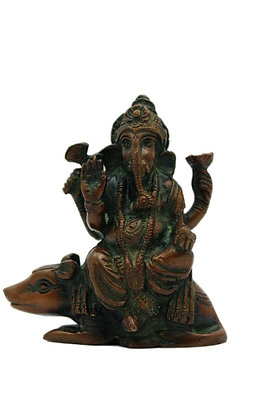 Statue Ganesh assis sur la souris Mushika Bronze N331