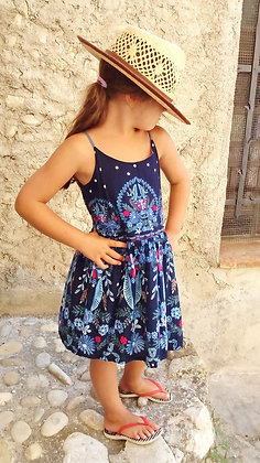 Robe courte fille made in France 'Nuit d'Orient' bleu marine