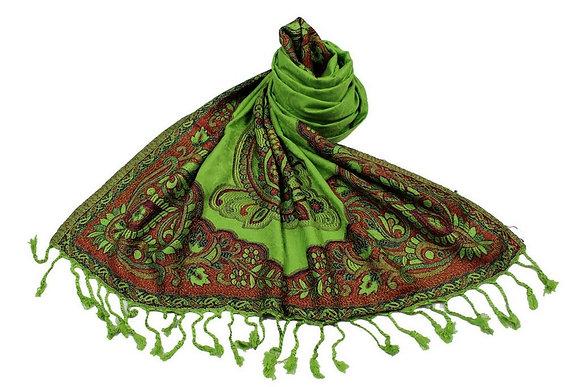 Étole Viscose Unie Bordure Motif Floral N6