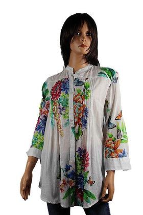 Tunique Plissée - Blanche - Fleurs et papillons - 13003TP