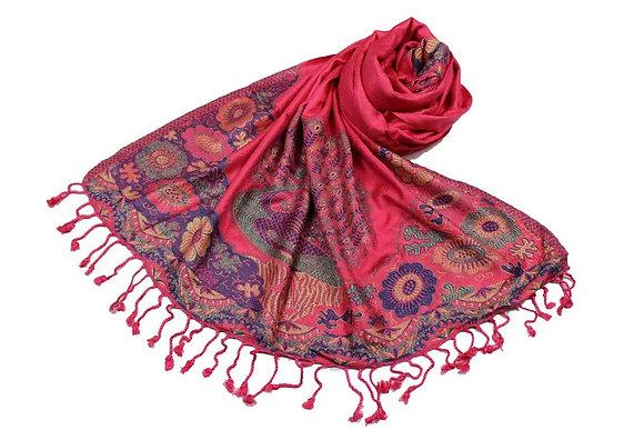Étole Viscose Unie Bordure Motif Floral N37