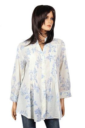 Tunique Plissée - Blanche - Fleurs bleues - 14011TP