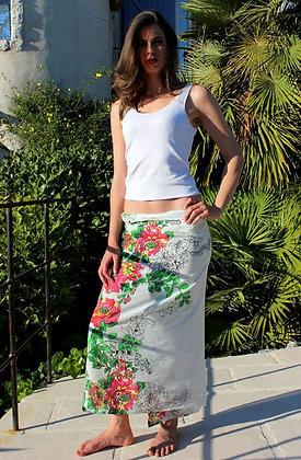 Paréo sarong Echarpe - Blanc - Fleurs Fushias -12041P