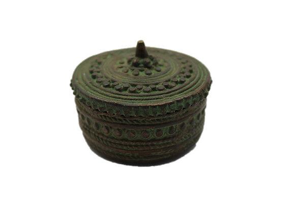 Objet Boite ronde Dhokra Bronze N376
