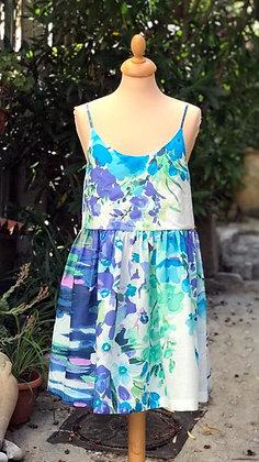 """Robe courte femme made in France """"Champ de fleurs bleues"""""""