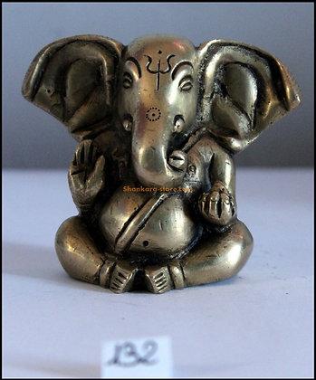 Statue Ganesh Ganapati assis Bronze N132