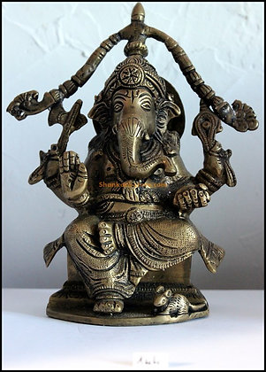 Statue Ganesh assis sous un arc Bronze N144