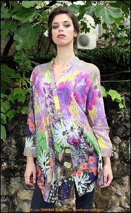 Tunique Plissée - Florale -  Violette - 11004TP