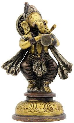 Statue Ganesh debout jouant du shehnai Bronze N 218