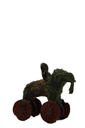 Statue  ancien jouet Éléphant à  roulettes art tribal dhokra  Bronze N384