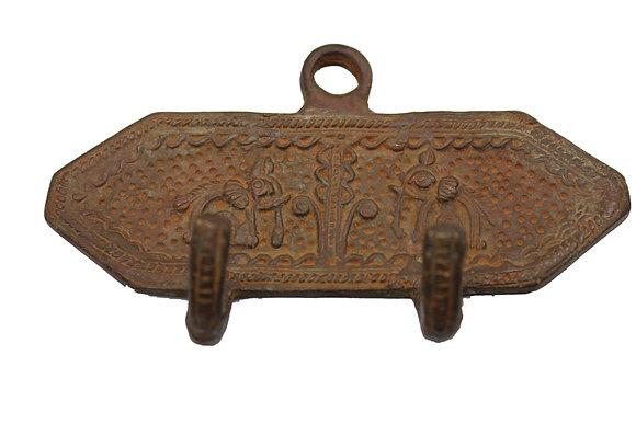 Patère 2 crochets éléphants Dhoka Bronze N441