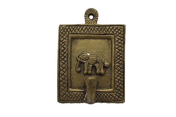 Patère 1 crochet  Éléphant  Dhokra Bronze N446