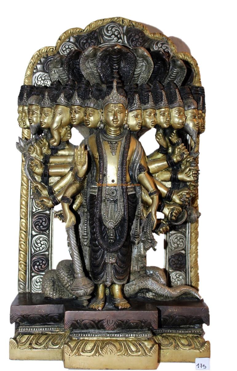Statue en bronze tricolore de la Gayatri du panthéon hindou