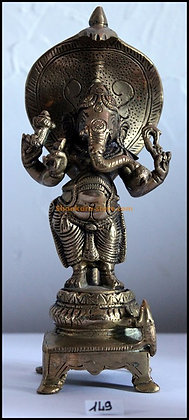 Statue Ganesh Vigharaja debout sur le serpent Sheshnag Bronze N149