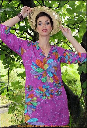 Tunique Bouton Bois - Fleurs de Corail  - Violette-11040TBB