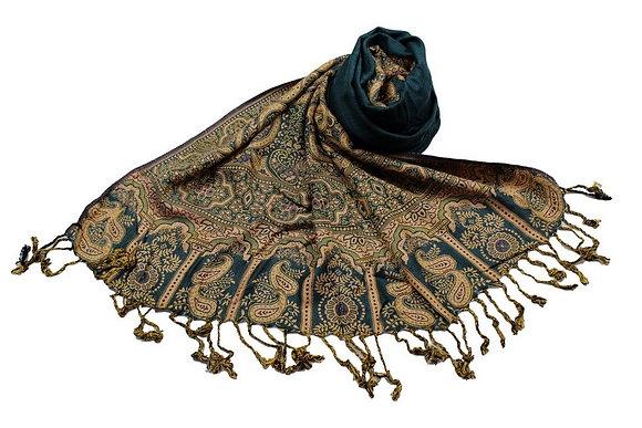 Étole Viscose Unie Bordure Motif Cachemire N8