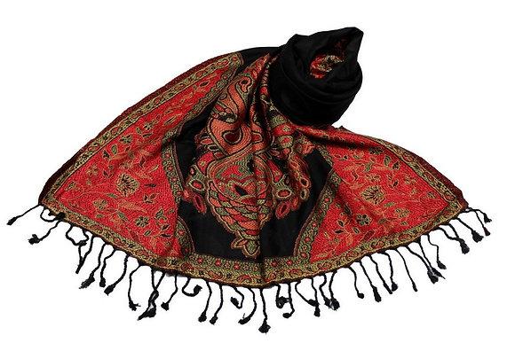 Étole Viscose Unie Bordure Motif Floral N11