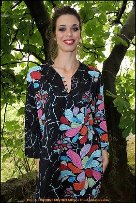 Tunique Bouton Bois  - Fleurs de Corail  - Noire - 11041TBB