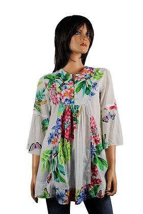 Tunique Romantique - Blanche - Fleurs et papillons - 13001TR
