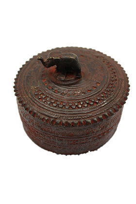 Objet Boite ronde Dhokra Bronze N374
