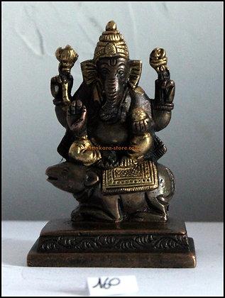 Statue Ganesh assis sur Mushika la souris Bronze N160