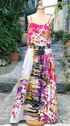 "Robe longue femme made in France ""Champ de fleurs"" fuschia"