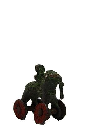Statue ancien jouet Éléphant sur 4 roulettes dhokra Bronze N382