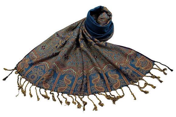 Étole Viscose Unie Bordure Motif Cachemire N7