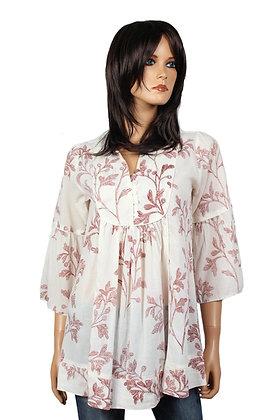 Tunique Romantique - Blanche - Fleurs rouges - 14002TR