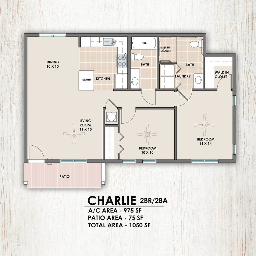 Charlie 2 bedroom/2 bath floorplan