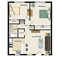 2 bedroom / 1 bath floorplan