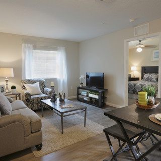 The living area of a furnished model
