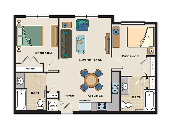 Arbor Village 2 Bedroom/2 Bath Floorplan