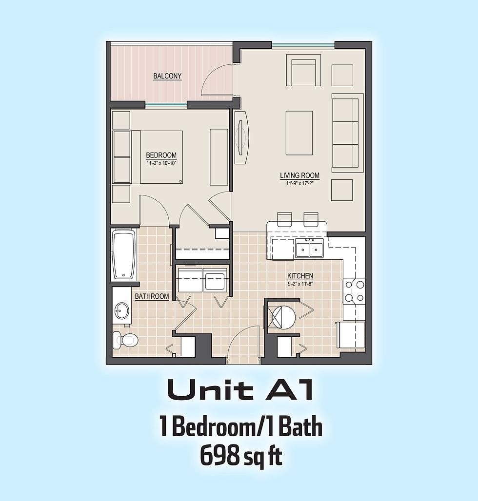 Unit A1 floorplan