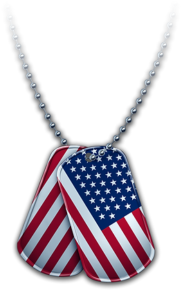 """A graphic of American Flag """"dog tags"""" hanging from a chain"""