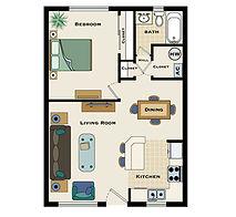 1 bedroom / 1 bath floorplan
