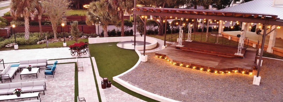 Open Air, Covered Stage in our Courtyard Event Space at Tabellas.