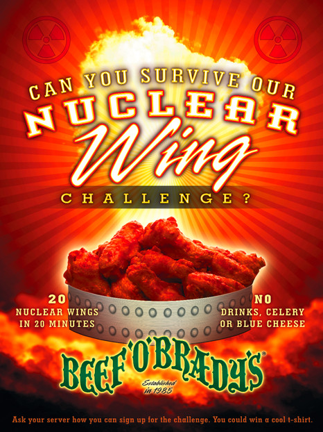 Beef O'Brady's Nuclear Wings Poster