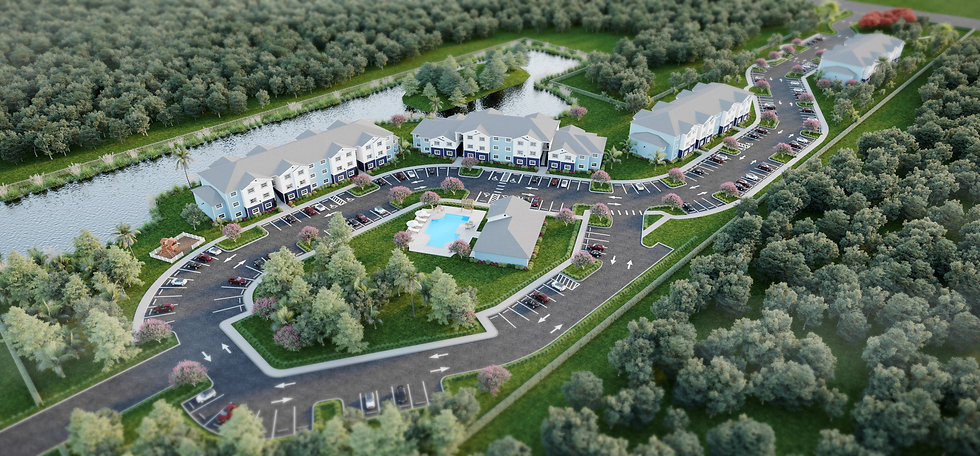 Aerial rendering of Sandpiper Place Apartments