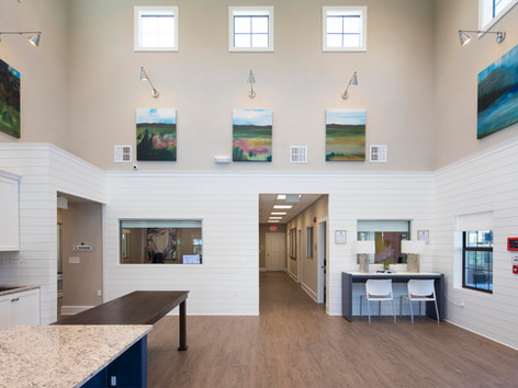 Vaulted ceilings inside the clubhouse