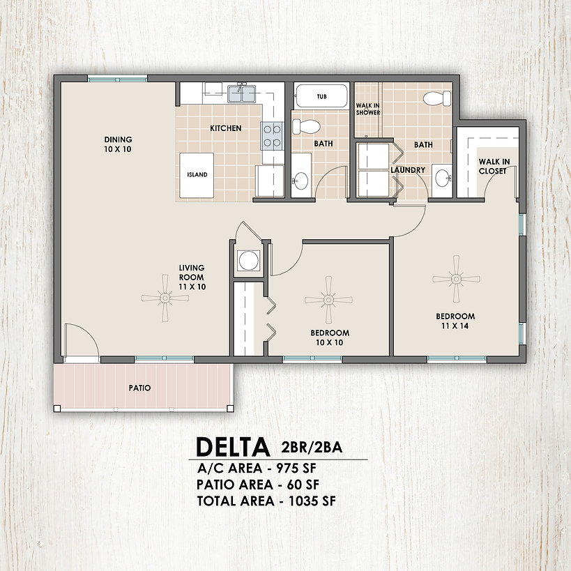 Delta 2 bedroom/2 bath floorplan