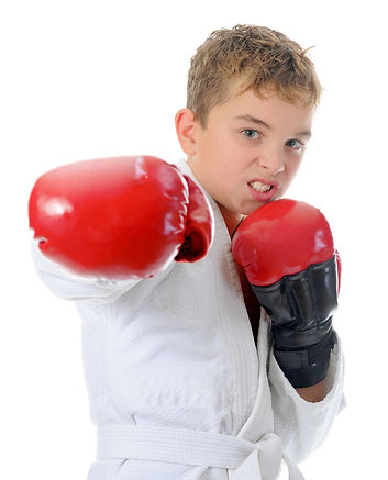 Boy wearing taekwondo Red Gloves
