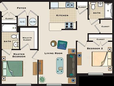 Two bedroom / Two bath floorplan