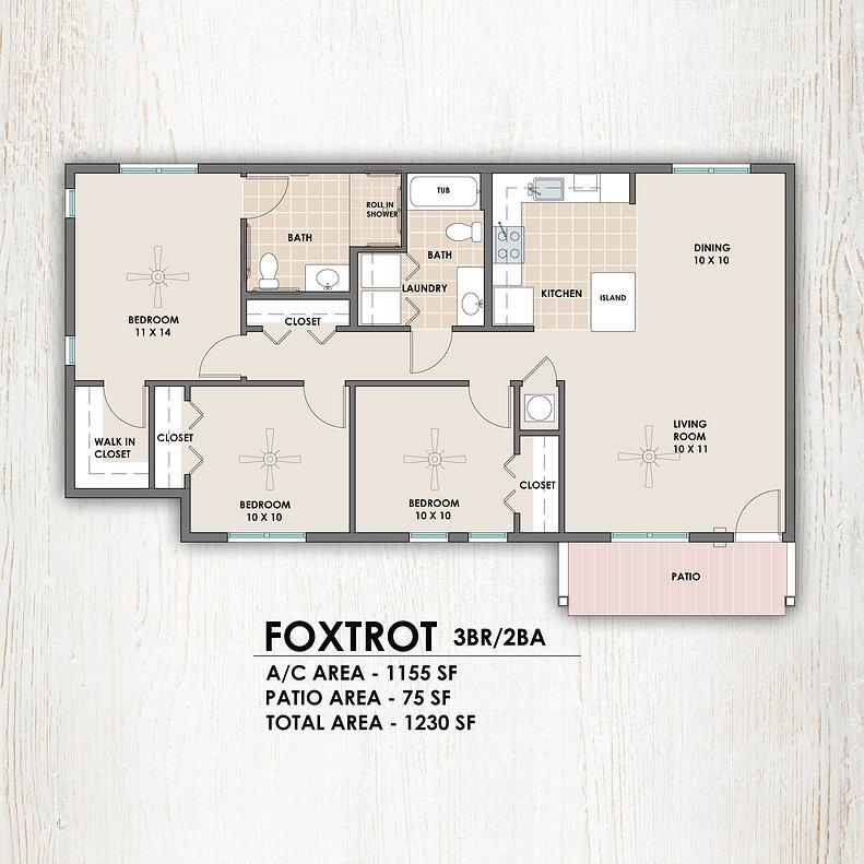 Foxtrot 3 bedroom/2 bath floorplan