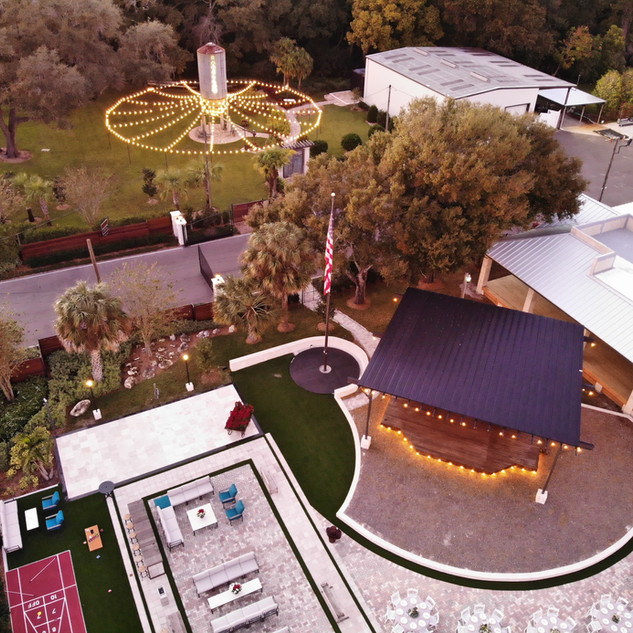 Aerial View - Silo Garden and Courytard event spaces at Tabellas